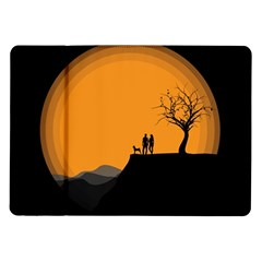 Couple Dog View Clouds Tree Cliff Samsung Galaxy Tab 10 1  P7500 Flip Case
