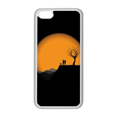 Couple Dog View Clouds Tree Cliff Apple Iphone 5c Seamless Case (white) by Nexatart