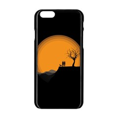 Couple Dog View Clouds Tree Cliff Apple Iphone 6/6s Black Enamel Case