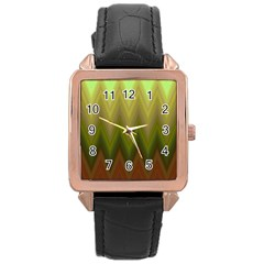 Zig Zag Chevron Classic Pattern Rose Gold Leather Watch