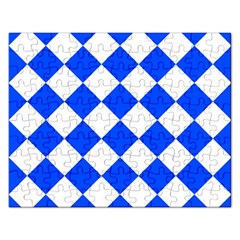 Blue White Diamonds Seamless Rectangular Jigsaw Puzzl by Nexatart