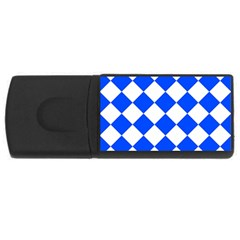 Blue White Diamonds Seamless Rectangular Usb Flash Drive
