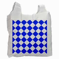 Blue White Diamonds Seamless Recycle Bag (one Side) by Nexatart