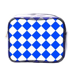 Blue White Diamonds Seamless Mini Toiletries Bags by Nexatart