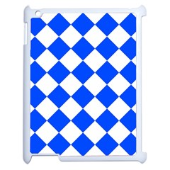 Blue White Diamonds Seamless Apple Ipad 2 Case (white) by Nexatart