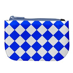 Blue White Diamonds Seamless Large Coin Purse