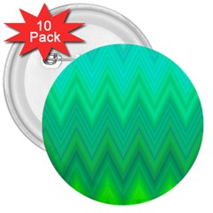 Green Zig Zag Chevron Classic Pattern 3  Buttons (10 Pack)  by Nexatart