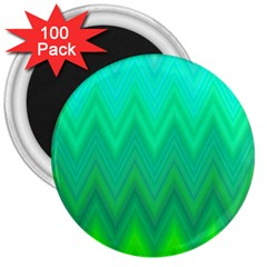 Green Zig Zag Chevron Classic Pattern 3  Magnets (100 Pack) by Nexatart