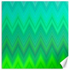 Green Zig Zag Chevron Classic Pattern Canvas 16  X 16   by Nexatart