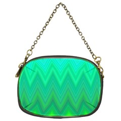 Green Zig Zag Chevron Classic Pattern Chain Purses (two Sides)