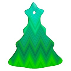 Green Zig Zag Chevron Classic Pattern Christmas Tree Ornament (two Sides)