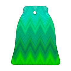 Green Zig Zag Chevron Classic Pattern Bell Ornament (two Sides)