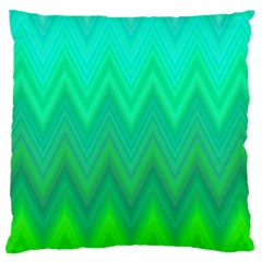 Green Zig Zag Chevron Classic Pattern Large Cushion Case (two Sides) by Nexatart