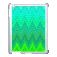 Green Zig Zag Chevron Classic Pattern Apple Ipad 3/4 Case (white) by Nexatart