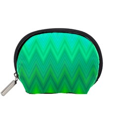 Green Zig Zag Chevron Classic Pattern Accessory Pouches (small)  by Nexatart