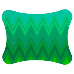 Green Zig Zag Chevron Classic Pattern Jigsaw Puzzle Photo Stand (bow)