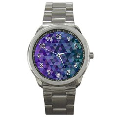 Triangle Tile Mosaic Pattern Sport Metal Watch by Nexatart