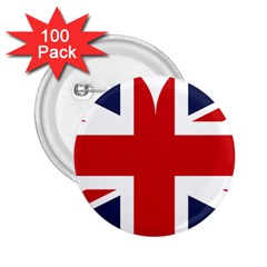 Uk Flag United Kingdom 2 25  Buttons (100 Pack)  by Nexatart