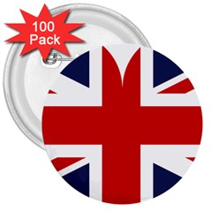 Uk Flag United Kingdom 3  Buttons (100 Pack)  by Nexatart