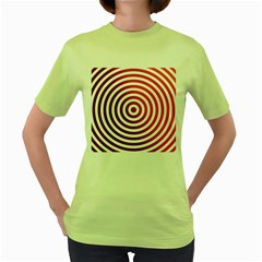 Concentric Red Rings Background Women s Green T Shirt