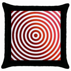 Concentric Red Rings Background Throw Pillow Case (black) by Nexatart