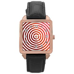 Concentric Red Rings Background Rose Gold Leather Watch