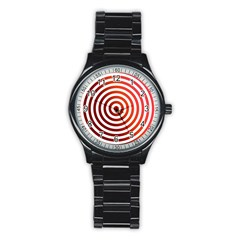 Concentric Red Rings Background Stainless Steel Round Watch