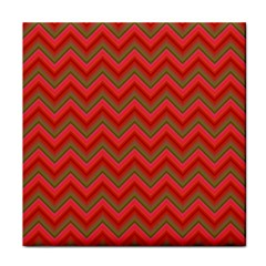 Background Retro Red Zigzag Tile Coasters