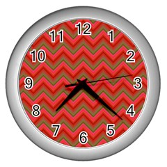 Background Retro Red Zigzag Wall Clocks (silver)  by Nexatart