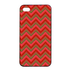 Background Retro Red Zigzag Apple Iphone 4/4s Seamless Case (black)