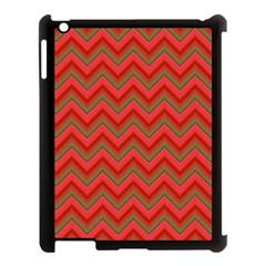 Background Retro Red Zigzag Apple Ipad 3/4 Case (black)