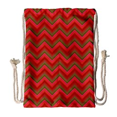 Background Retro Red Zigzag Drawstring Bag (large)
