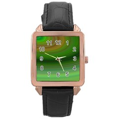 Green Background Elliptical Rose Gold Leather Watch