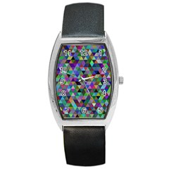 Triangle Tile Mosaic Pattern Barrel Style Metal Watch by Nexatart
