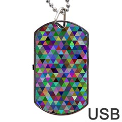 Triangle Tile Mosaic Pattern Dog Tag Usb Flash (two Sides)