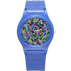 Triangle Tile Mosaic Pattern Round Plastic Sport Watch (s) by Nexatart