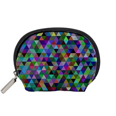 Triangle Tile Mosaic Pattern Accessory Pouches (small)  by Nexatart