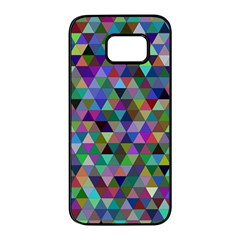 Triangle Tile Mosaic Pattern Samsung Galaxy S7 Edge Black Seamless Case by Nexatart