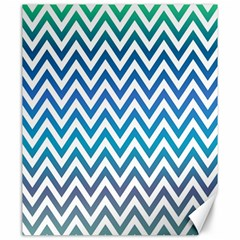 Blue Zig Zag Chevron Classic Pattern Canvas 20  X 24   by Nexatart