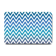 Blue Zig Zag Chevron Classic Pattern Small Doormat