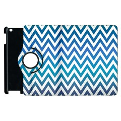 Blue Zig Zag Chevron Classic Pattern Apple Ipad 3/4 Flip 360 Case