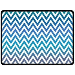 Blue Zig Zag Chevron Classic Pattern Double Sided Fleece Blanket (large)