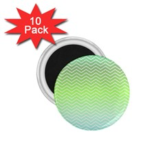 Green Line Zigzag Pattern Chevron 1 75  Magnets (10 Pack)