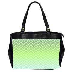 Green Line Zigzag Pattern Chevron Office Handbags (2 Sides)  by Nexatart