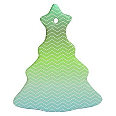 Green Line Zigzag Pattern Chevron Christmas Tree Ornament (two Sides)