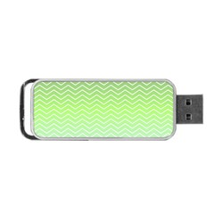 Green Line Zigzag Pattern Chevron Portable Usb Flash (two Sides) by Nexatart