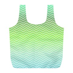 Green Line Zigzag Pattern Chevron Full Print Recycle Bags (l)  by Nexatart