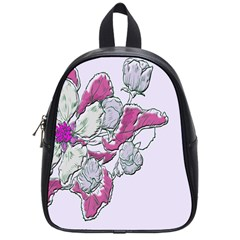 Bouquet Flowers Plant Purple School Bag (small)