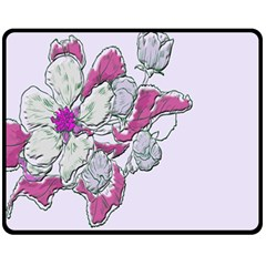 Bouquet Flowers Plant Purple Double Sided Fleece Blanket (medium)  by Nexatart
