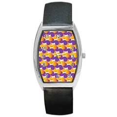 Pattern Background Purple Yellow Barrel Style Metal Watch by Nexatart